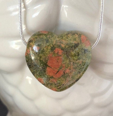 Unakite Jasper Heart Necklace