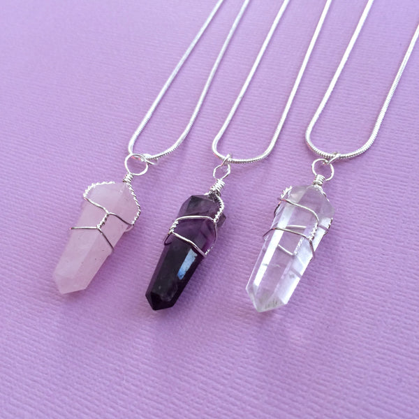 Rose Quartz Double Point Wire Wrapped