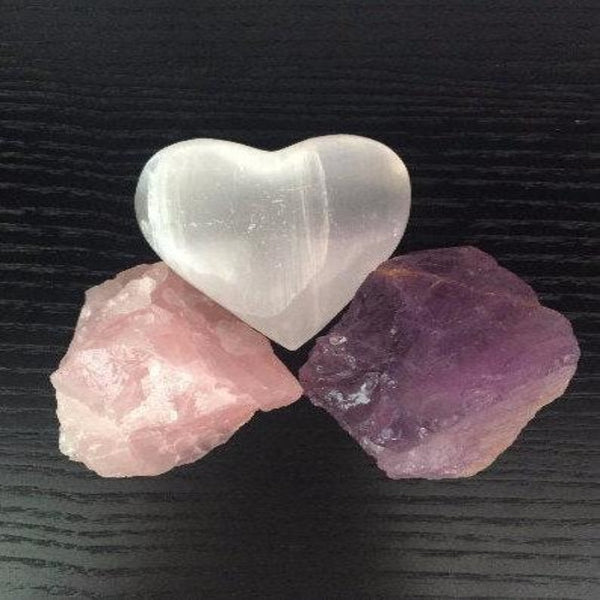 Crystal Grid Set for Love and Relationship, Raw Rose Quartz, Amethyst, and Selenite Heart Natural Stones with Reiki