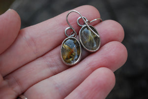 Golden rutilated quartz sterling silver earrings
