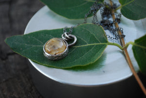 Delicate rutile quartz spinner necklace