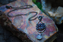 Load image into Gallery viewer, Wire Wrapped Iolite & Moonstone Sterling Silver Tear Drop Necklace