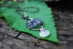 Wire Wrapped Iolite & Moonstone Sterling Silver Tear Drop Necklace