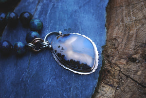 Marfa plume agate hand knotted silk necklace