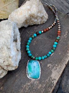 Clarity - Gem silica chrysacolla & genuine turquoise beaded choker necklace