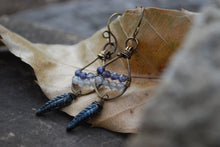 Load image into Gallery viewer, Woven dangle earrings with labradorite, iolite, & silvered jet czech glass feathers