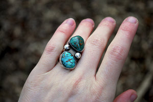 Genuine turquoise twin stone ring in sterling silver