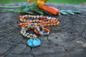 Ebb & Flow - Carnelian knotted silk beaded necklace