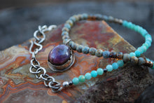 Load image into Gallery viewer, Insight - Star ruby & peruvian amazonite beaded choker