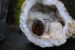 Fire Agate men's ring - size 12