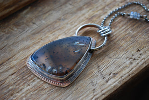 Montana moss agate pendant necklace with labradorite
