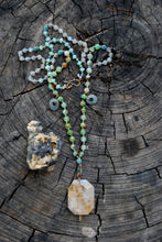 Load image into Gallery viewer, Dendrite quartz & chrysoprase knotted silk necklace