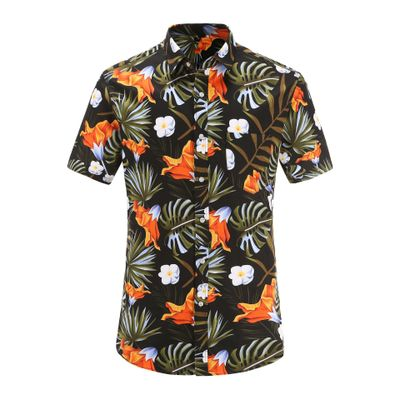 Summer Mens Short Sleeve Hawaiian Casual Floral