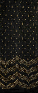Zig Zag Border and Buti with Sequin Touch On Semi Chanderi 54 inches