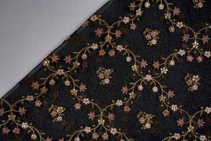Floral Jangla with Sequin Touch On Silk Organza