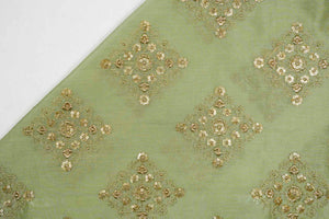Sqaure Buta with Sequence Touch Silk Chanderi