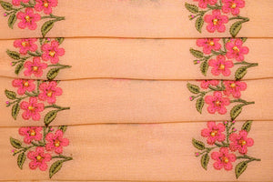 Floral Buti With Hand Embroidery on Chinon