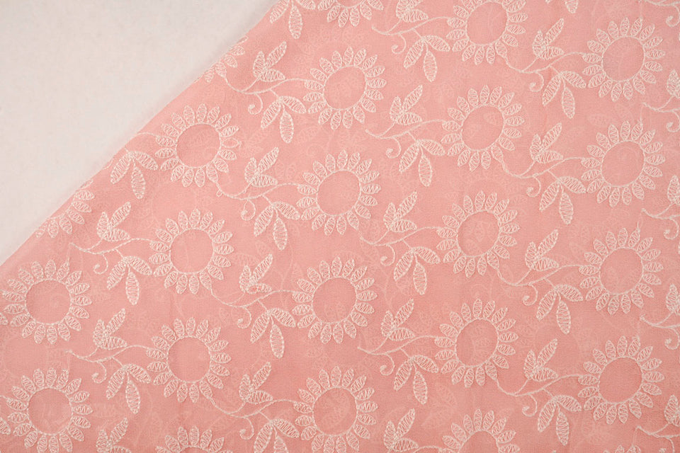 Chikan Style Cotton Embroidery On Georgette