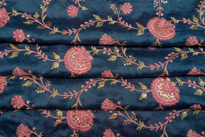Floral Sequins Jaal on Silk Chanderi