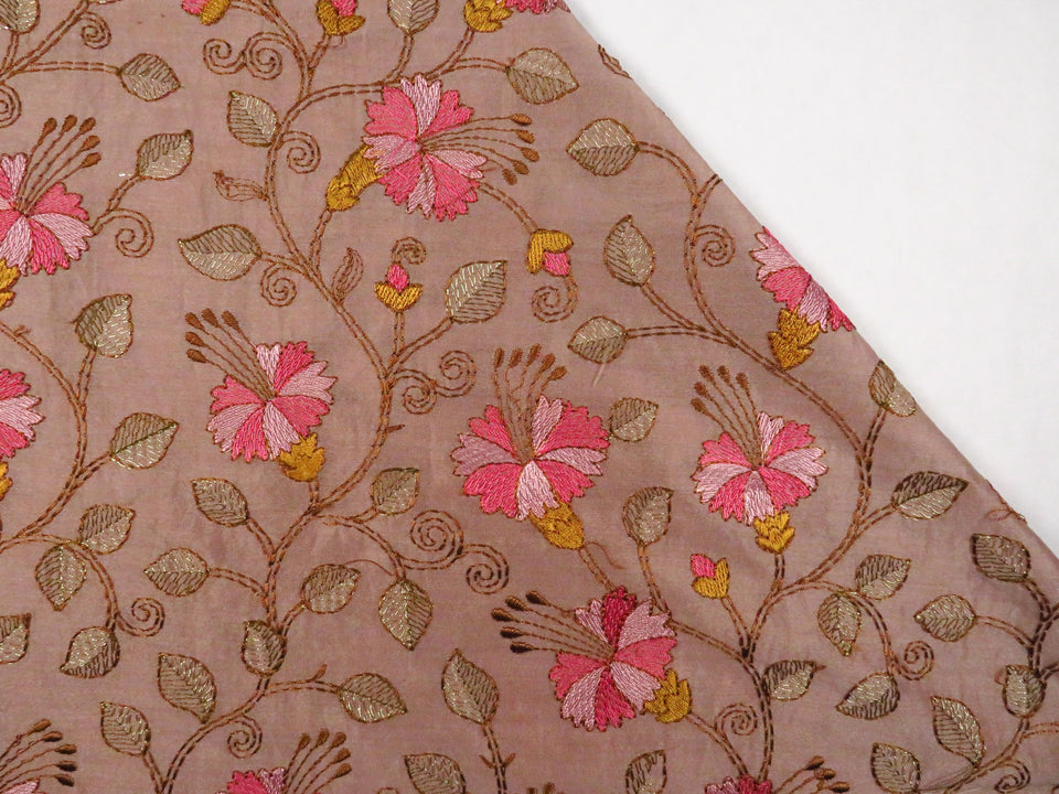 Floral Jaal With Kantha Styled Embroidery on Silk Chanderi