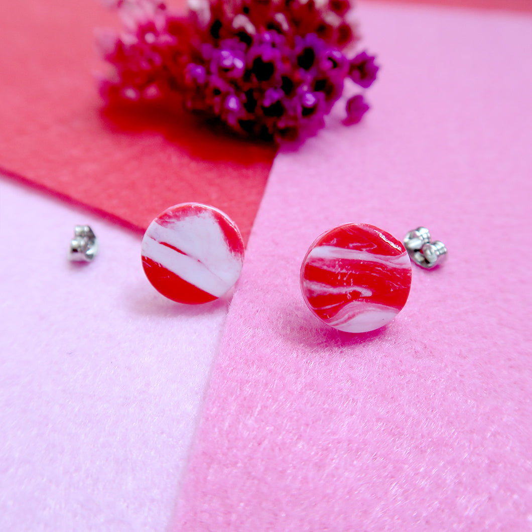 Red and white combined handmade studs
