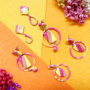 Handmade three pairs of Abstract Tricolor Diamond Earrings - Gold, Yellow, Magenta Pearl