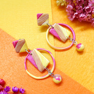 Abstract Tricolor Diamond Earrings - Gold, Yellow, Magenta Pearl