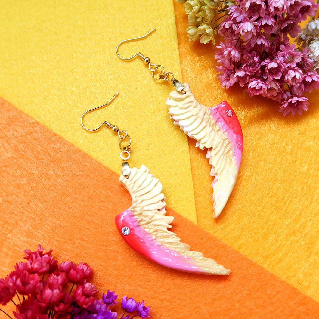 Pink, Yellow, Red Angelic Love Earrings With crystal