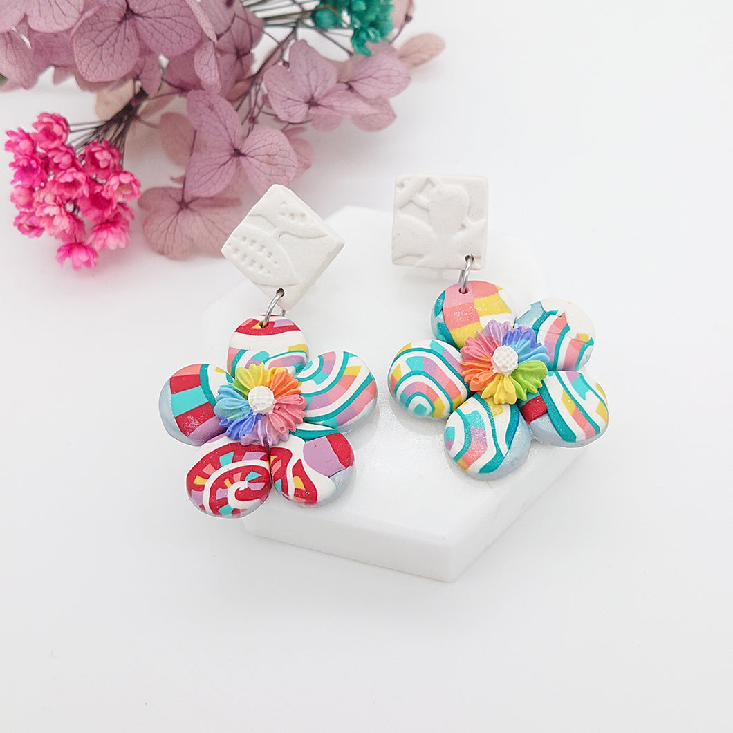 Spring Garden - Unique pair of handmade polymer clay earrings that make you stand out in the crowd. Handmade in Singapore.