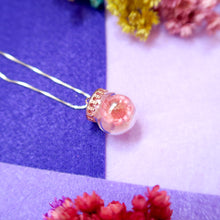 Load image into Gallery viewer, Two pink flowers enclosed in princess shape round glass pendant