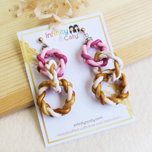 Polymer Clay gradient pink earrings braids triple hook interlocking