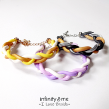 Load image into Gallery viewer, Instagram Featured Combination of other designs of handmade sweet lavender braided  polymer clay bracelets