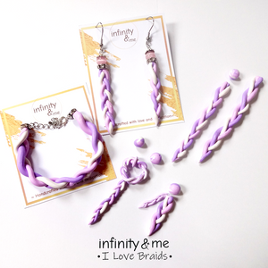 Instagram Featured Combination of other designs of handmade sweet lavender braided  polymer clay earrings, necklace and bracelet