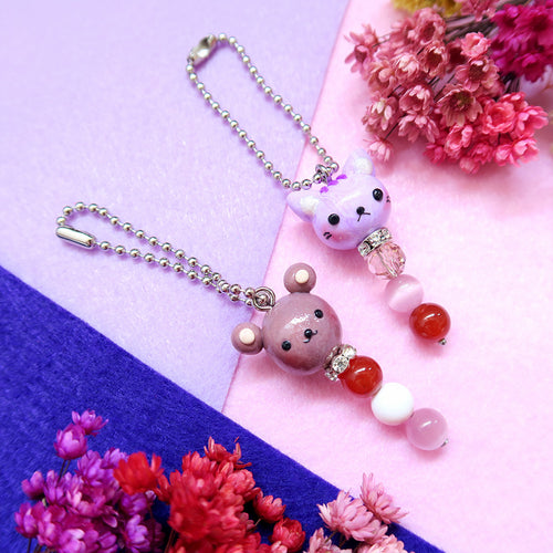 Little Animals Keychain Brown bear and purple kitty