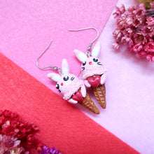 Load image into Gallery viewer, Sweet pink bunny icecream polymer clay earrings holding a heart