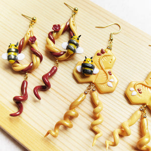 Royal golden bumble bee honeycomb earrings with curly dangles polymer clay maroon curls