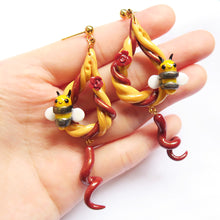 Load image into Gallery viewer, Royal golden bumble bee honeycomb earrings with curly dangles polymer clay maroon curls