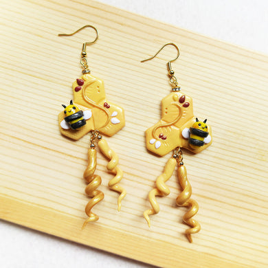 Royal golden bumble bee honeycomb earrings with curly dangles polymer clay
