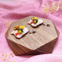 Load image into Gallery viewer, Buzzing bee floral sunshine yellow and gold with hearts earrings