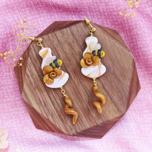 Load image into Gallery viewer, Buzzing bee floral sunshine yellow and gold with hearts earrings sweet style with teardrop floral braids dangle