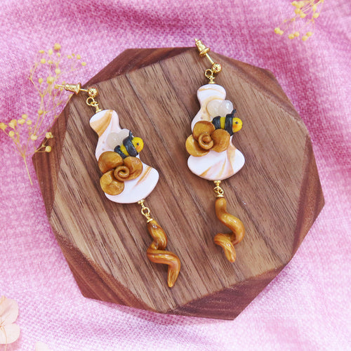 Buzzing bee floral sunshine yellow and gold with hearts earrings sweet style with teardrop floral braids dangle