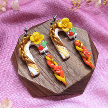 Load image into Gallery viewer, Braids golden curvature stud earrings with crystal embellishment on the top, sunshine floral with red heart and leaves
