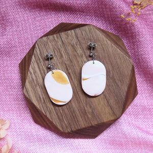Minimalist Marble Earrings - Large