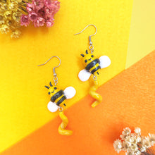 Load image into Gallery viewer, A Sunshine yellow buzzing bee and twirl earrings