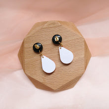 Load image into Gallery viewer, Bright cane technique polymer clay Color Fiesta Earrings with midnight black studs with gold flakes back view
