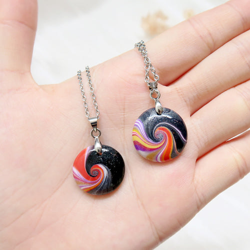 Colourful Swirl Wave Polymer Clay Pendant