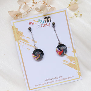 Colorful Swirl Wave with Crystal Earrings (Black Stud)