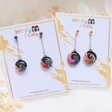 Load image into Gallery viewer, Colorful Swirl Wave with Crystal Earrings (Black Stud)