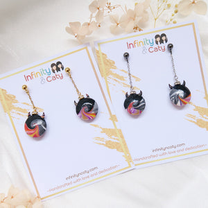 Colourful Devils Tidal Wave Earrings (Black Stud)