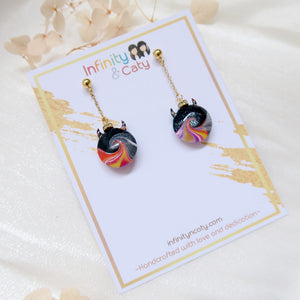 Colourful Devils Tidal Wave Earrings (Gold Stud)